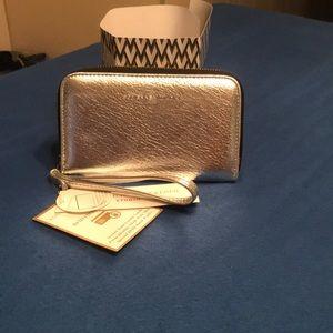 Adrienne Vittadini Zip Around Wallet, Silver